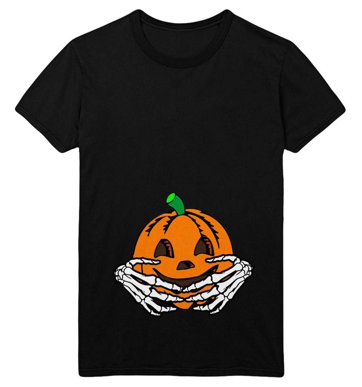 Halloween Maternity T Shirt Womens Pumpkin Baby Skeleton Hands Funny Costume Top, Main Colour Black