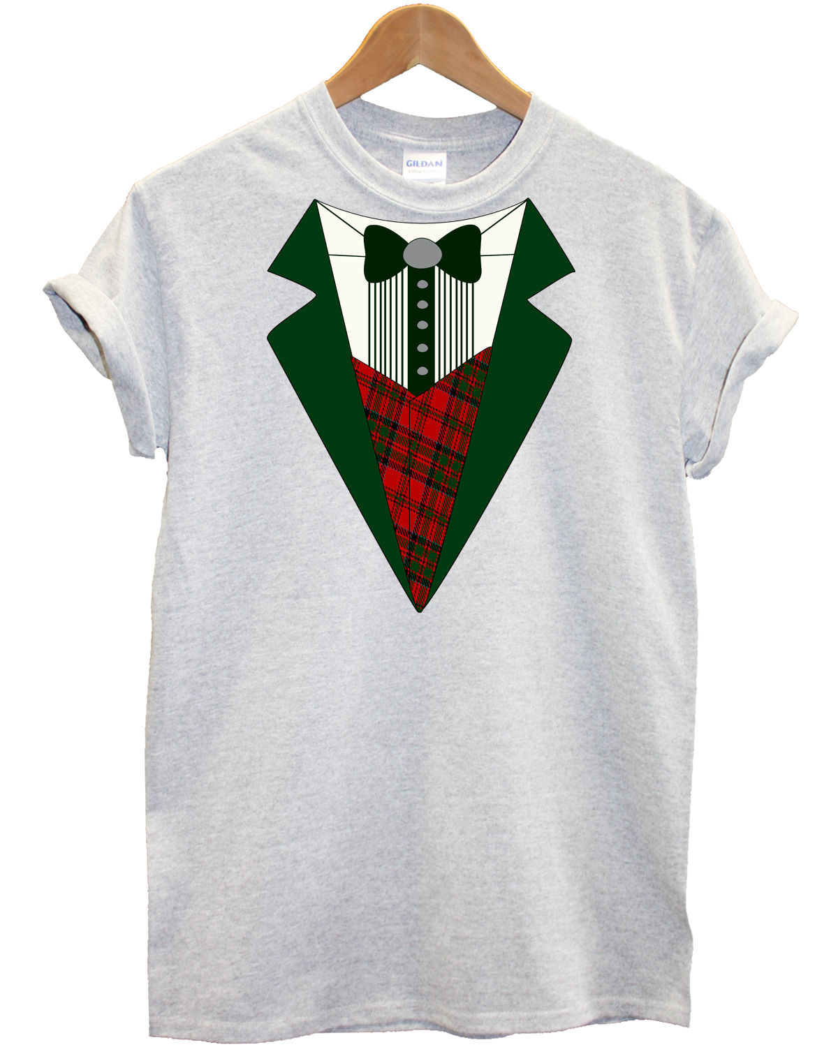 71c763a9a3 Christmas Green Tuxedo T Shirt Father Christmas Santa Gift Present Top  Dress Up, Main Colour Grey