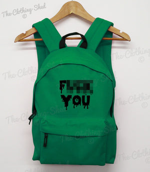 F*** You Back Pack Ruck Sack School Slime Rude College Emo Goth Boy Girl Bag New