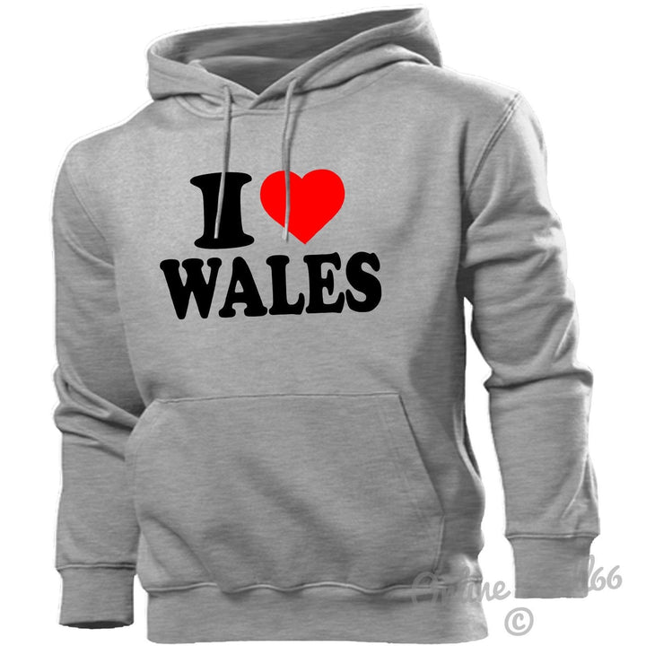 I LOVE WALES HOODIE HEART HOODY MEN WOMEN KIDS WELSH PROUD VALLEYS RUGBY RED, Main Colour Sport Grey
