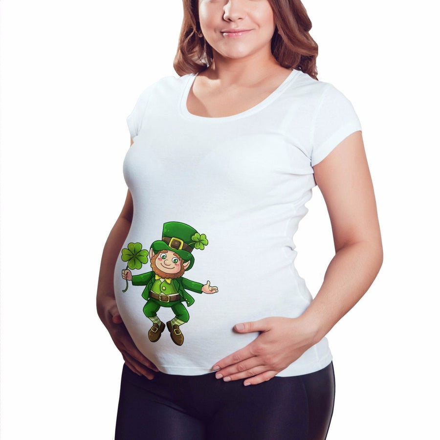 Leprechaun St Patricks Day Ireland Irish Maternity T Shirt Pregnant Tshirt M13