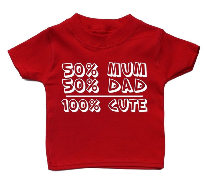 50% Mum Dad 100% Cute Baby T Shirt Funky Cool Gift Present Girl Kids Boy, Main Colour Red