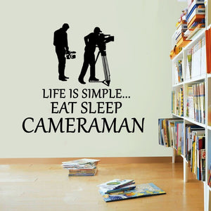 Life Is Simple Cameraman Vinyl Sticker Eat Sleep Picture Decal Wall Art Sport
