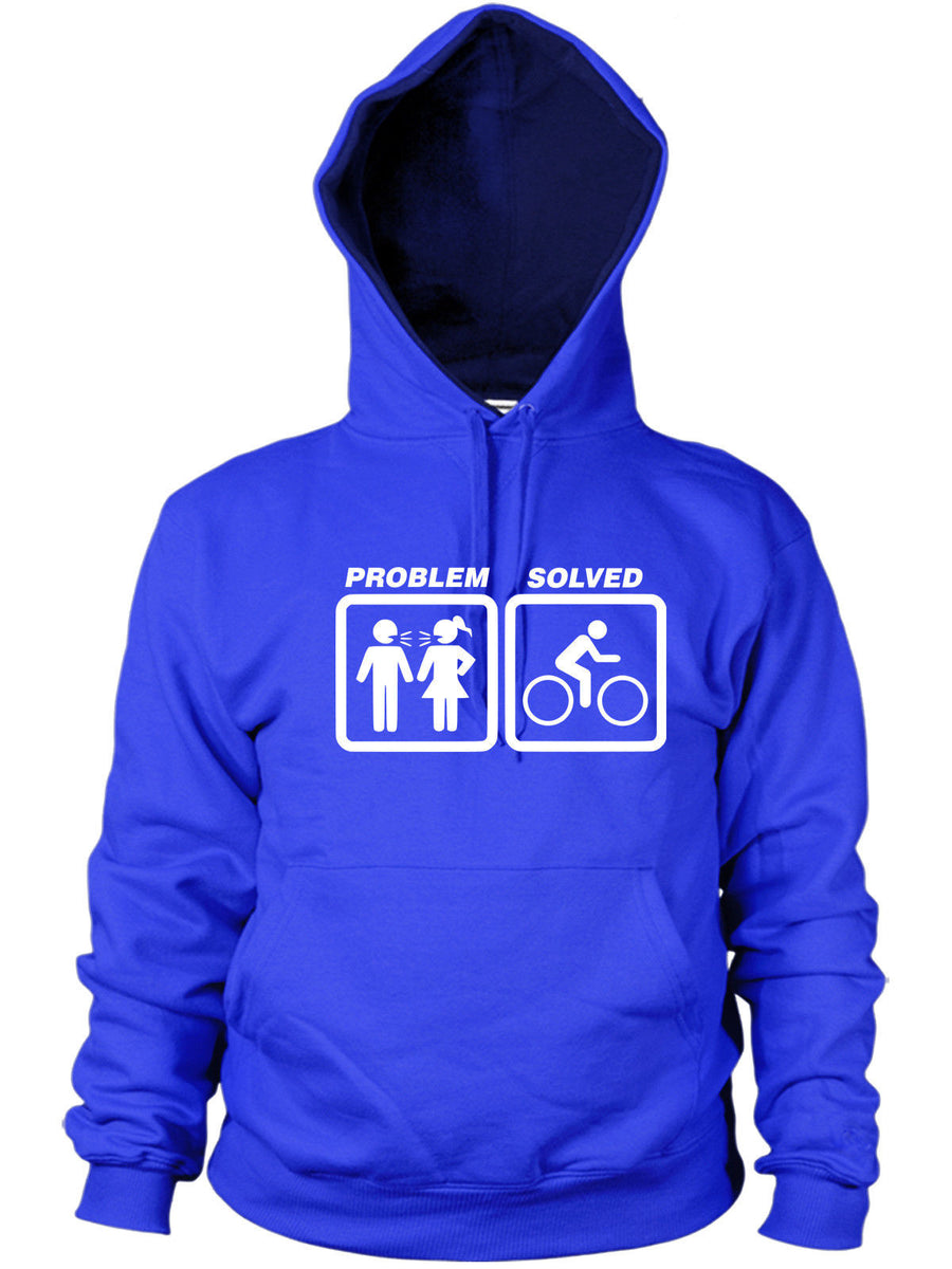 Cycling Problem Solved Hoodie Funny Present Women Men Hoody Bicycle Bike Cycle