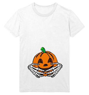 Halloween Maternity T Shirt Womens Pumpkin Baby Skeleton Hands Funny Costume Top, Main Colour White