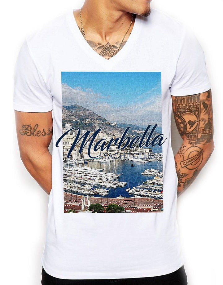 Marbella Yacht Club Distinkt Youth V Neck T Shirt Top Mens Fitted Summer EDY2