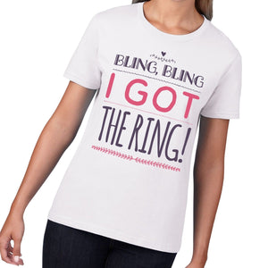 Bling Bling I Got The Ring Womens Wedding T Shirt Fiance Engaged Wifey Top 817