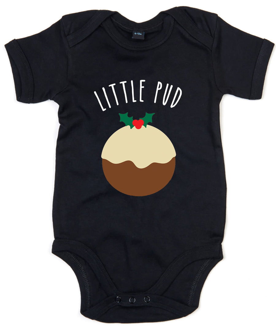 Little Pud Baby Grow Christmas Pudding Babygrow Cute Xmas Newborn Gift Mum L136