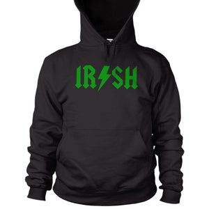 Irish Hoodie St Patricks Day Paddy 2017 Ireland Drink acdc Font Rock n Roll L15