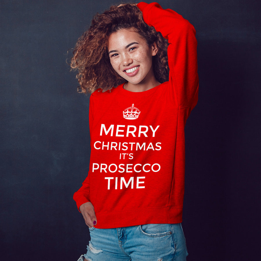 Keep Calm Funny Christmas Sweatshirt Merry Christmas Prosecco Time Jumper CH49