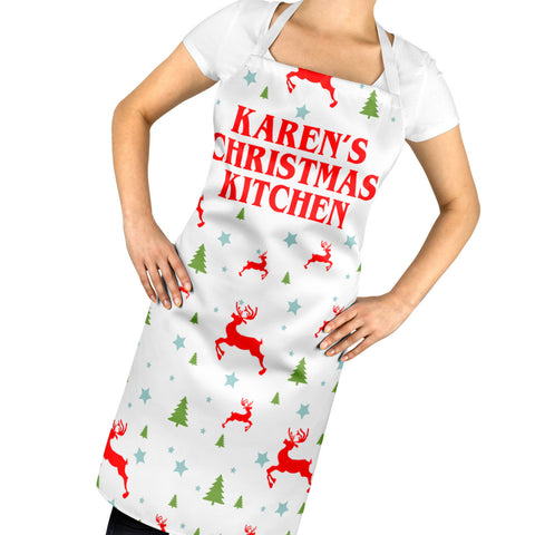 Personalised Christmas Kitchen Apron Funny Mum Festive Season Santa Dinner A55
