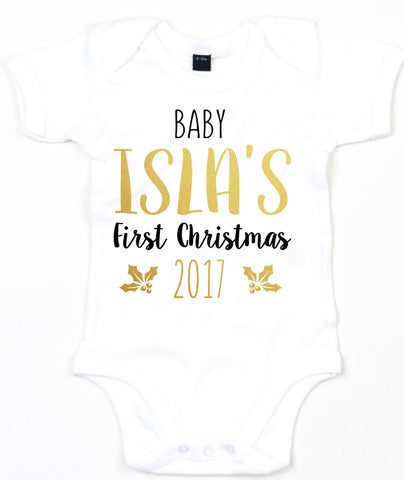 Personalised Christmas Baby Grow First Babygrow Newborn 2017 Cute Christmas L134