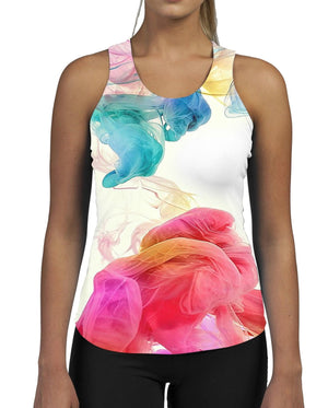 Colour Puff WOMENS GYM TANK Top Vest Ladies Fitness Muscles All Over Pattern