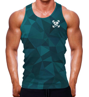 TEAL GEOMETRIC GET DOWN GYMWEAR MUSCLE FIT TANK VEST SLEEVELESS MEN WORKOUT GYM