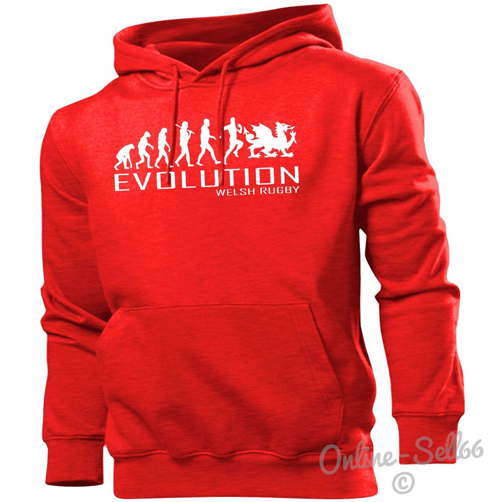 Welsh Rugby Evolution Hoodie Mens Womens Kids Hoody Sports Gym Train Club Kit, Main Colour Red