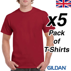 Mens Cardinal Red T Shirt 5 Pack Gildan Heavy Cotton Tee Plain Cheap Work Dark
