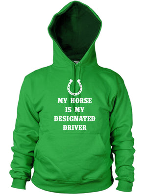 MY HORSE IS MY DESIGNATED DRIVER HOODIE FUNNY RIDING EQUESTRIAN WOMEN GIRL WARM