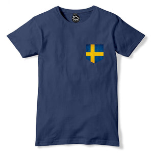 Vintage Print Pocket SWEDEN Flag T Shirt Sverige Mens Womens Tshirt New FAN 265