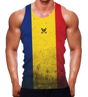 ROMANIAN FLAG TANK MUSCLE VEST SLEEVELESS ROMANIA COUNTRY MEN GYM WEAR WEIGHT Y