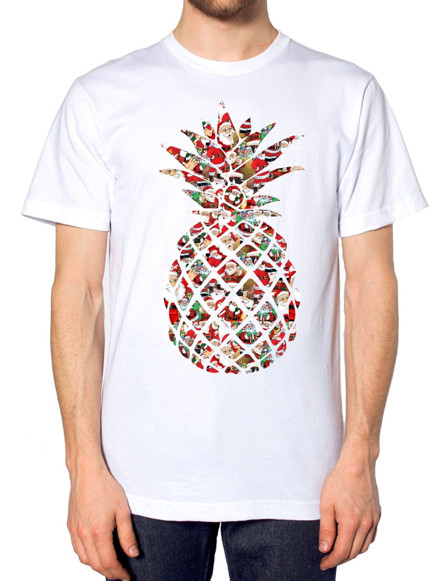 Pineapple Santa T Shirt Deer Rudolph Summer Hot Christmas Novelty Festive