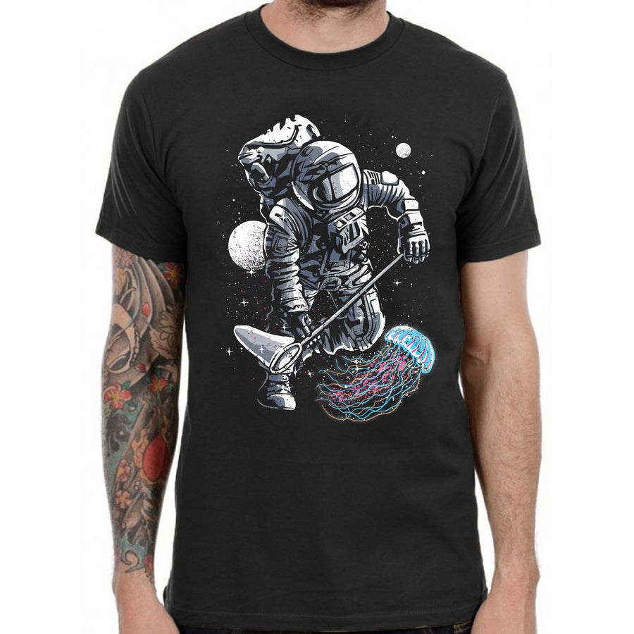 Astronaut Jelly Fishing T Shirt Funny Spaceman Space Punk Goth Rock Band Men UK