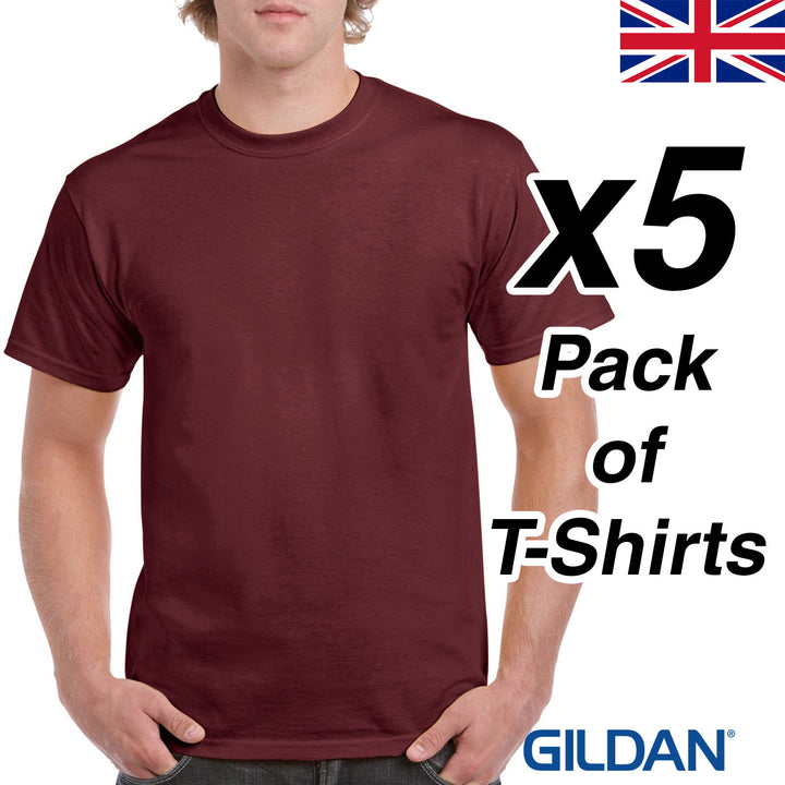 Mens Maroon T Shirt 5 Pack Gildan Heavy Cotton Tee Burgandy Plain Cheap Work