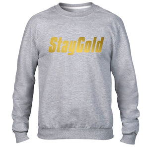 Stay Gold Hipster Swag Sweater GOLD PRINT Mens Sweatshirt Womens Dope Top Jumper
