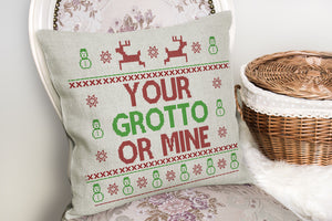 Grotto or Mine Funny Christmas Cushion Cover Pillow Insert Noel Home Decor ST51