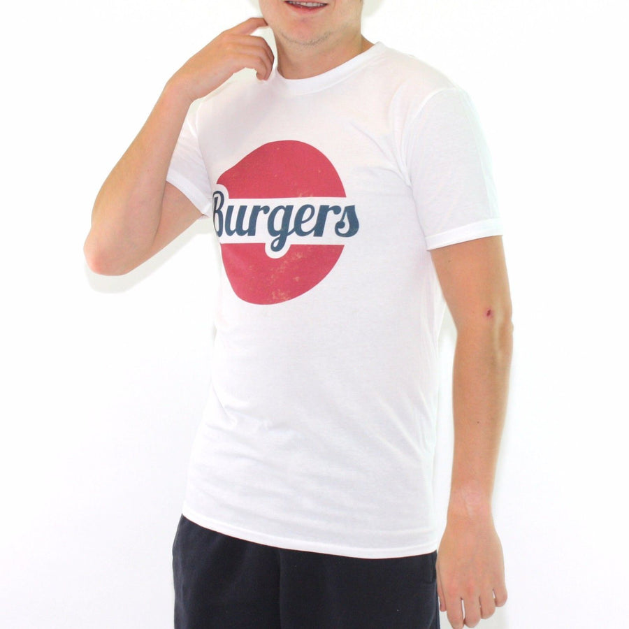Retro Vintage Burger Logo Tshirt 80s 90s Fast Food Top Mens Womens America 383