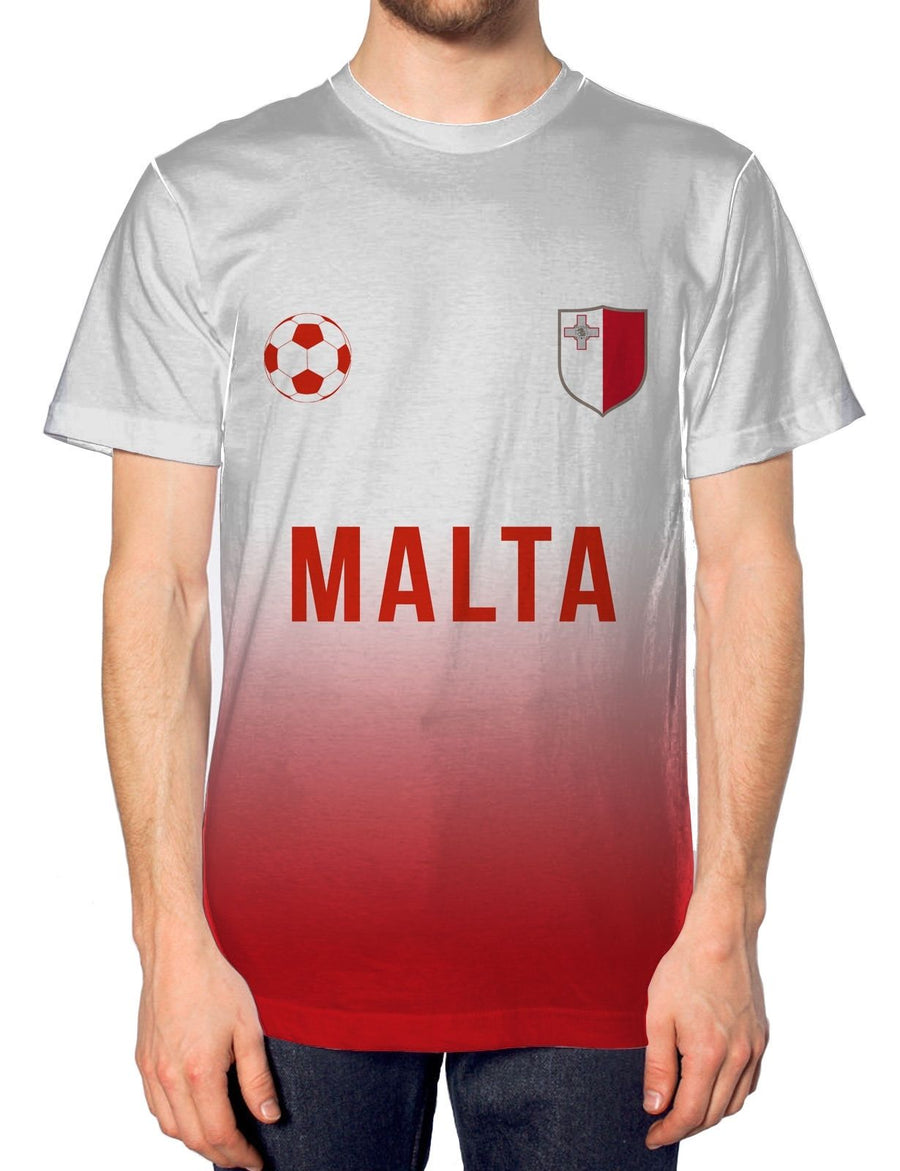 Malta Home Football Nation Fade Tshirt Mens Shirt Jersey World Cup Euros Train