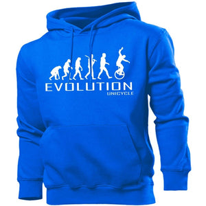 Unicycle Evolution Hoodie Mens Womens Kids Hoody Sports Bike Cycling Circus Gift, Main Colour Royal Blue