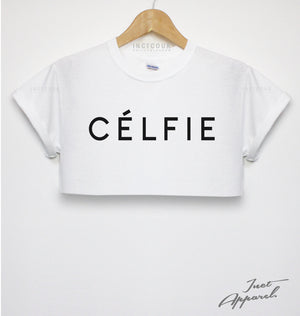 CELFIE CROP TOP T SHIRT CUTE SELFIE HIPSTER GIRLS WOMEN FASHION DOPE