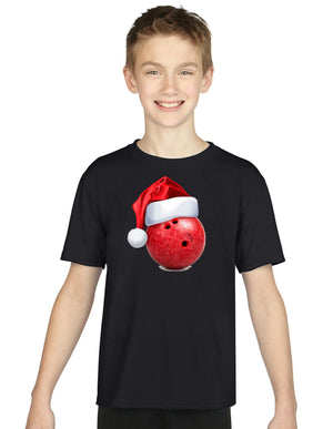 Children's Bowling Ball Christmas Hat T Shirt Kids Boys Girls Tops Festive