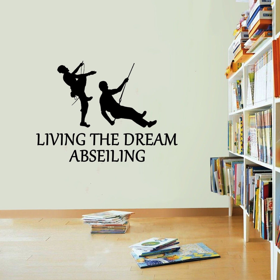 Abseiling Living The Dream Sports Climb Wall Sticker Vinyl Decal Decors Art Wall