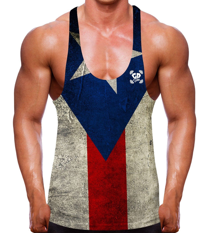 PUERTO RICO FLAG STRINGER VEST MEN GYM WEAR CLOTHING COUNTRY TEAM WEIGHT LIFTING