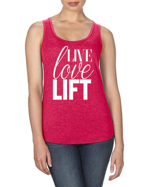Love Live Lift PINK RACER-BACK TANK Womens Fitness Funny Slogan Muscle Gymwear