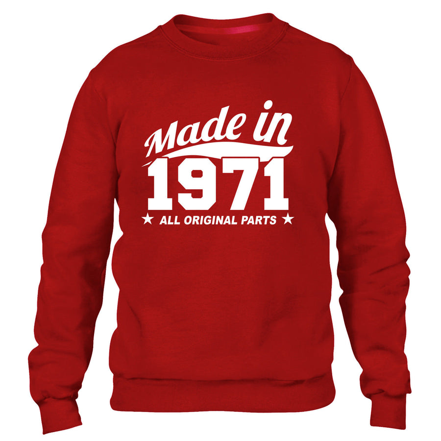 MADE IN 1971 ALL ORIGINAL PARTS SWEATER MENS WOMENS FUNNY BIRTHDAY COOL FAMILY