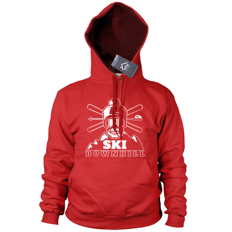 Skull Ski Downhill Hoody Mens Womens Skiing Snowboard Gift Hoodie Top Base 490