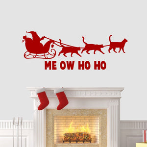 Meow Ho Ho Christmas Wall Sticker Vinyl Decorations Cats Kittens Art Xmas W18