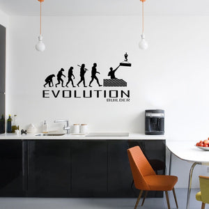 Evolution Of Builder Wall Sticker Vinyl Decal Decors Art Build Trade Tradesman