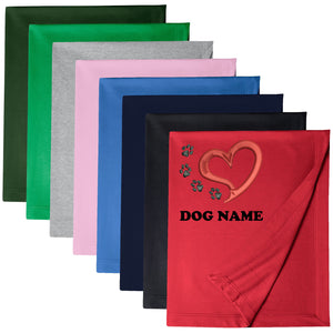 Personalised Pet Name BLANKET Heart Paw Print Dog Cat Bed EMBROIDERED B1