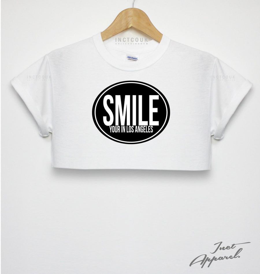 Smile Your In Los Angeles Crop Top LA America USA Happy Badge T Shirt Tumblr