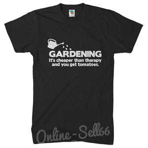 Gardening Its Cheaper than Therapy Funny T Shirt Garden Top Plants Tshirt , Main Colour Black