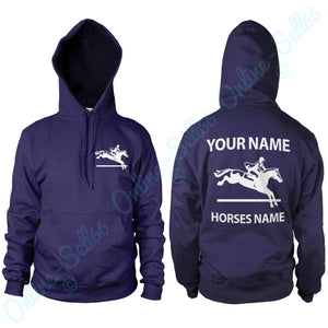 Personalised Show Jumping Horse Riding Hoodie Mens Womens Hoody All Sizes