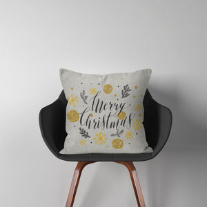 Merry Christmas Gold Cushion Cover Pillow Insert Tinsel Noel Home Decor ST48