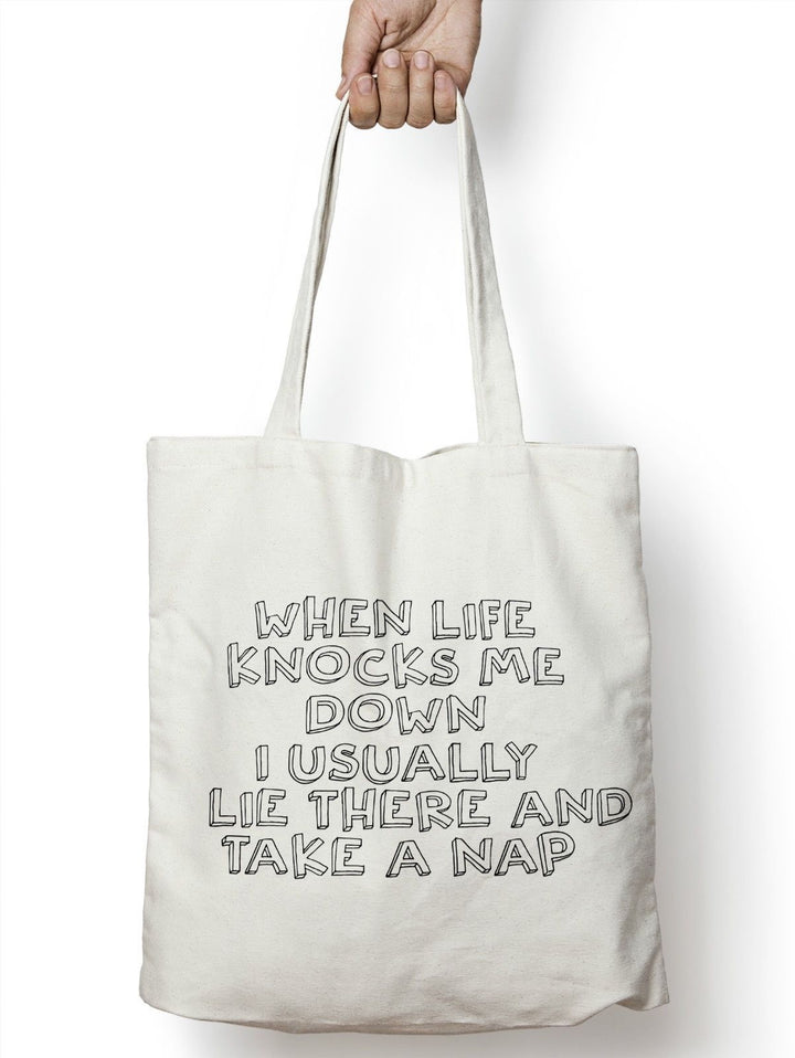 When Life Knocks Me Down I Usually Lie There And Take A Nap Shopper Bag STP157