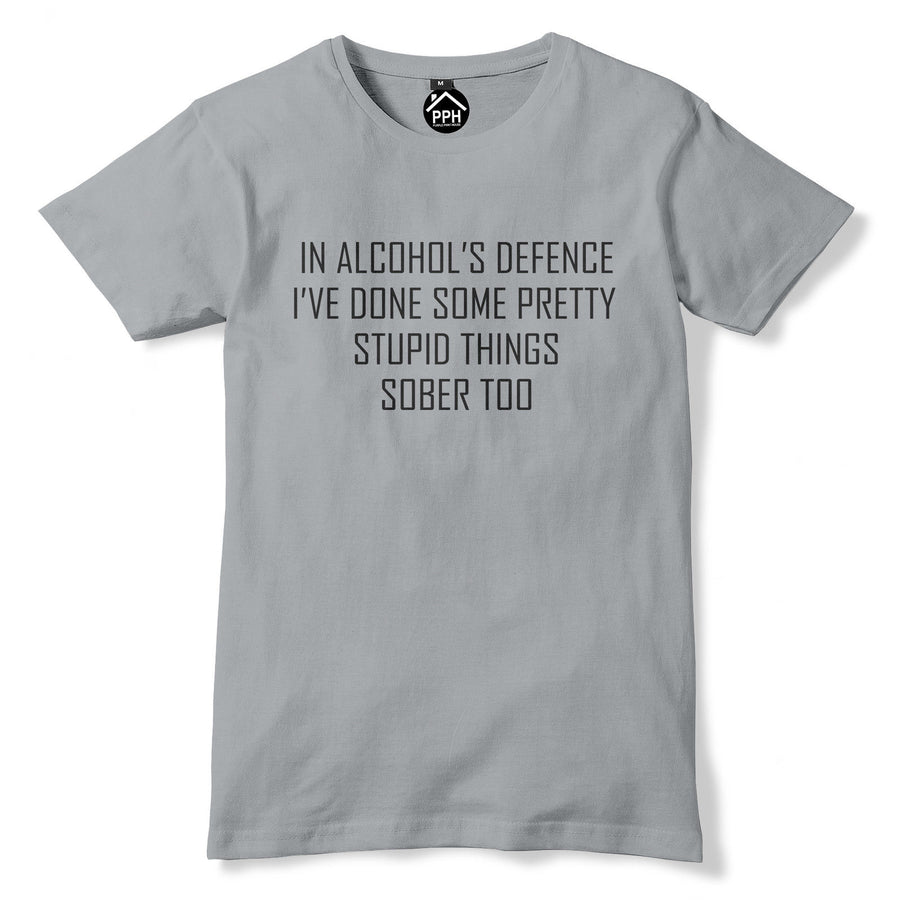 Alcohols Defence Funny Stupid Rude Tshirt Stag Do T Shirt Offensive Mens Geek 61