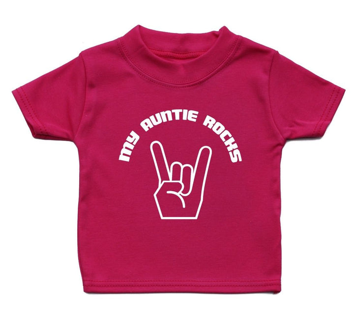 My Auntie Rocks T Shirt Funny Baby Boys Girl Gift Present Birthday Music Funky, Main Colour Bright Pink