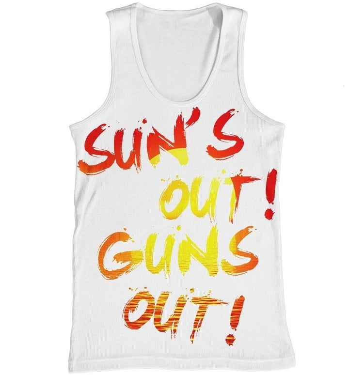 Suns Out Guns Out Vest All Over Print Summer Holiday Dope Tank Top Men New Gym
