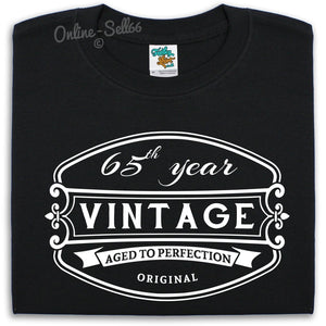 65th Vintage Birthday Mens T Shirt 66 67 68 69 Fun Gift Present Bday Grandad , Main Colour Black